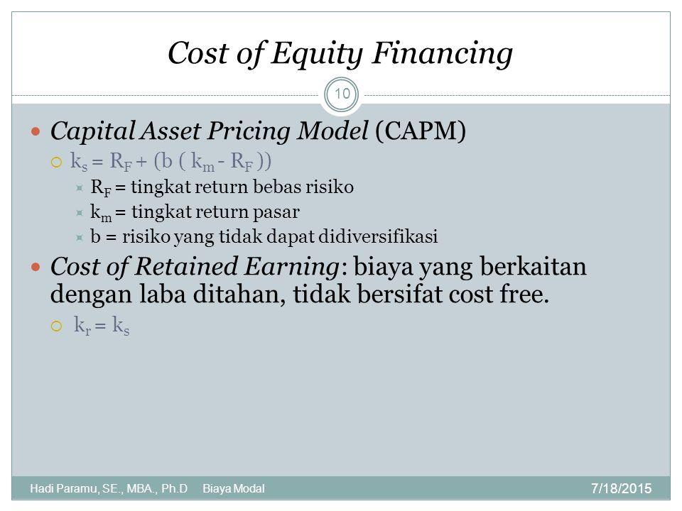 Cost of Equity Financing 7/18/2015 Hadi Paramu, SE., MBA., Ph.D Biaya Modal 10 Capital Asset Pricing Model (CAPM)  k s = R F + (b ( k m - R F ))  R