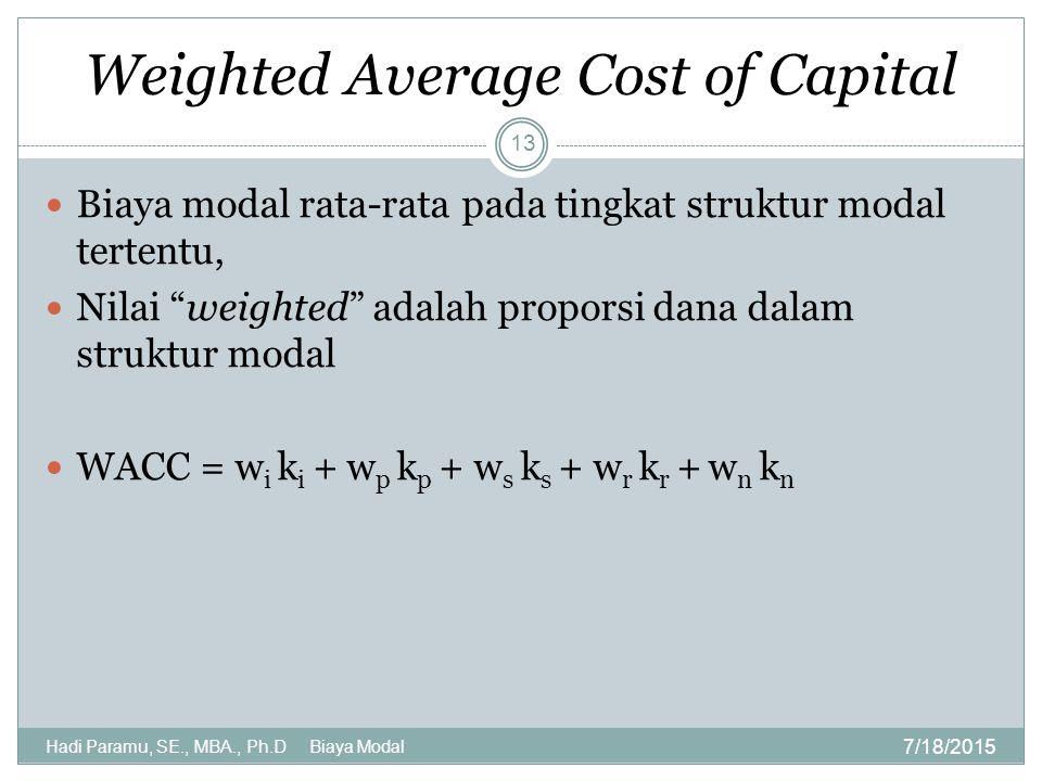 Weighted Average Cost of Capital 7/18/2015 Hadi Paramu, SE., MBA., Ph.D Biaya Modal 13 Biaya modal rata-rata pada tingkat struktur modal tertentu, Nil