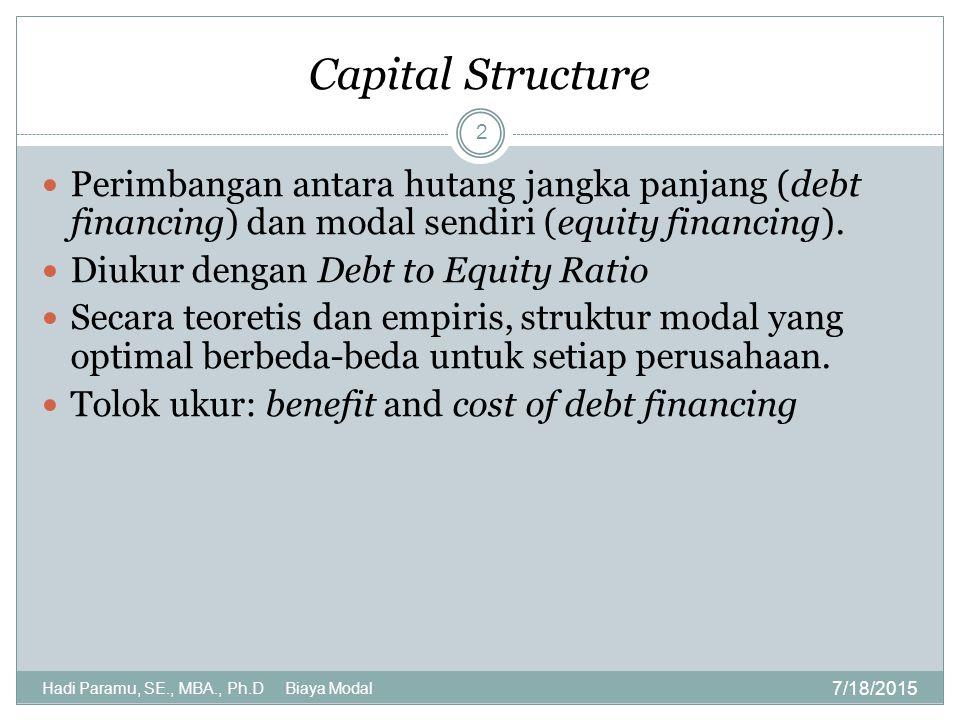 Capital Structure 7/18/2015 Hadi Paramu, SE., MBA., Ph.D Biaya Modal 2 Perimbangan antara hutang jangka panjang (debt financing) dan modal sendiri (eq