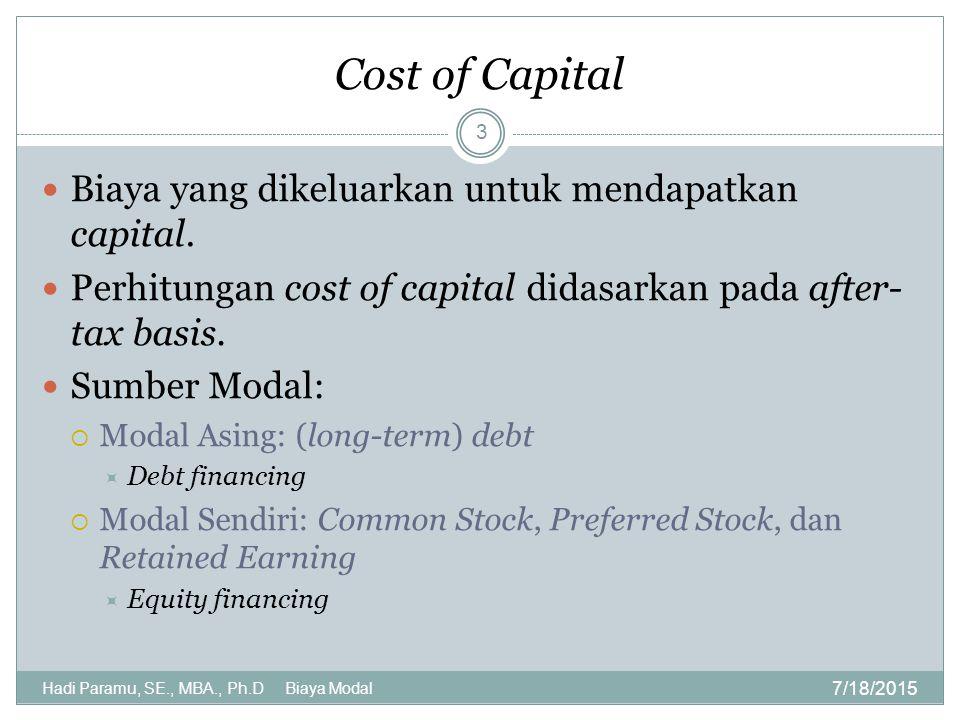 Benefit and Cost of Debt Financing 7/18/2015 Hadi Paramu, SE., MBA., Ph.D Biaya Modal 4 Benefit: cost of debt sebagai tax shield (karena bisa mengurangi jumlah pajak yang dibayarkan) Cost:  meningkatnya probabilitas kebangkrutan karena ketidakmampuan membayar debt  Agency cost: cost of debt yang mahal Cost of debt: k i = k d (1 – T)