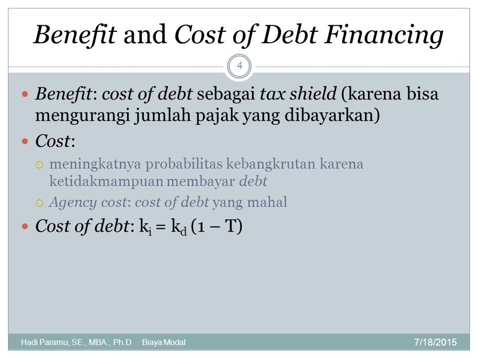 Benefit and Cost of Debt Financing 7/18/2015 Hadi Paramu, SE., MBA., Ph.D Biaya Modal 4 Benefit: cost of debt sebagai tax shield (karena bisa menguran
