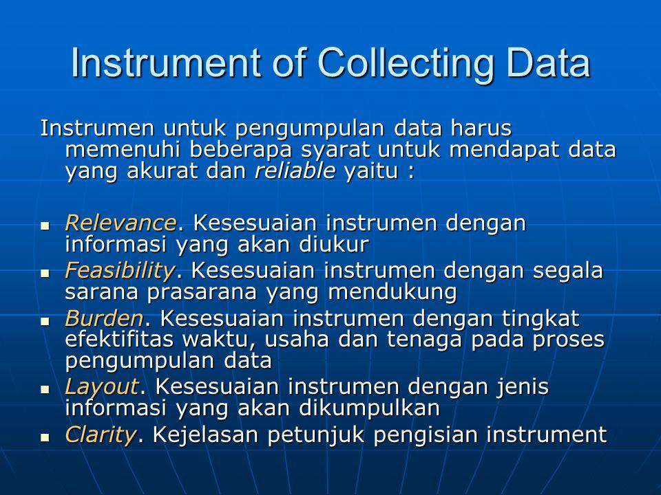 Instrument of Collecting Data Instrumen untuk pengumpulan data harus memenuhi beberapa syarat untuk mendapat data yang akurat dan reliable yaitu : Relevance.