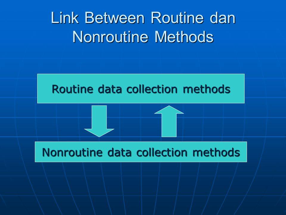 Link Between Routine dan Nonroutine Methods Routine data collection methods Nonroutine data collection methods