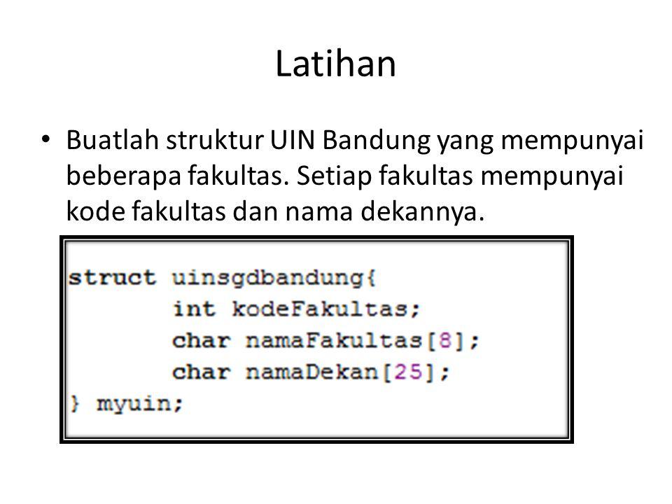 Latihan Buatlah struktur UIN Bandung yang mempunyai beberapa fakultas. Setiap fakultas mempunyai kode fakultas dan nama dekannya.