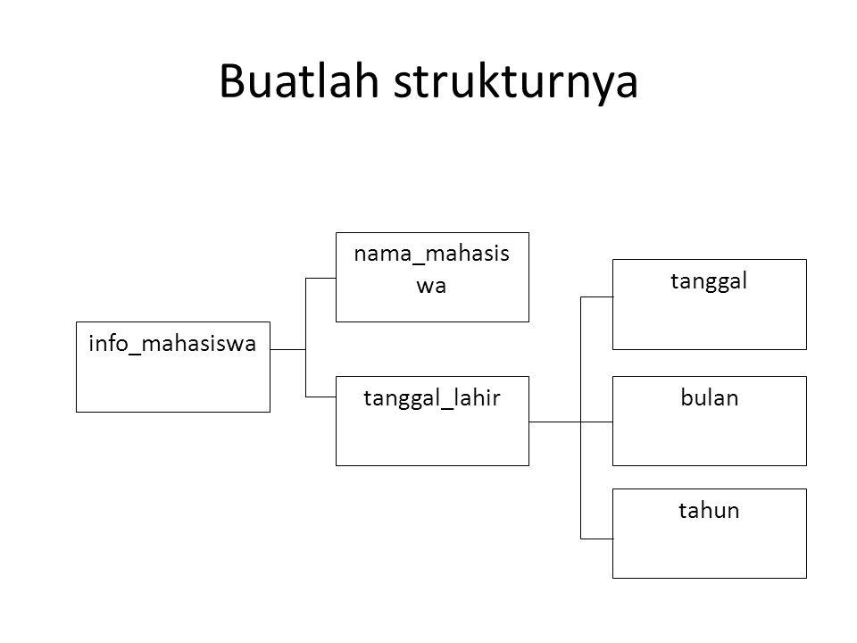 Buatlah strukturnya tanggal_lahir tanggal bulan tahun info_mahasiswa nama_mahasis wa