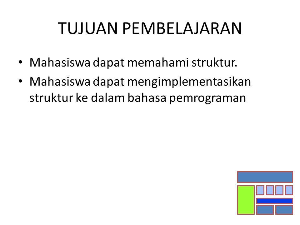 TUJUAN PEMBELAJARAN Mahasiswa dapat memahami struktur. Mahasiswa dapat mengimplementasikan struktur ke dalam bahasa pemrograman
