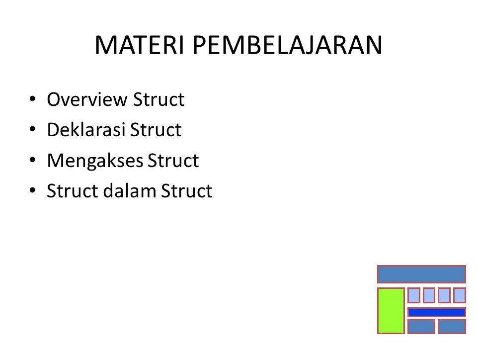 MATERI PEMBELAJARAN Overview Struct Deklarasi Struct Mengakses Struct Struct dalam Struct