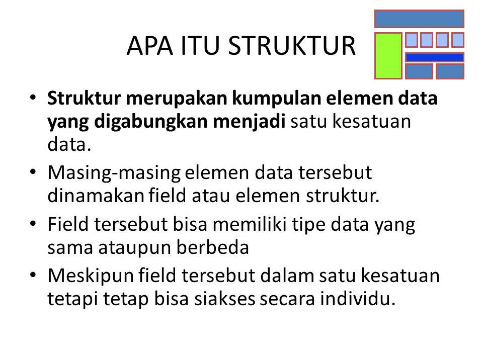 APA ITU STRUKTUR Struktur merupakan kumpulan elemen data yang digabungkan menjadi satu kesatuan data. Masing-masing elemen data tersebut dinamakan fie