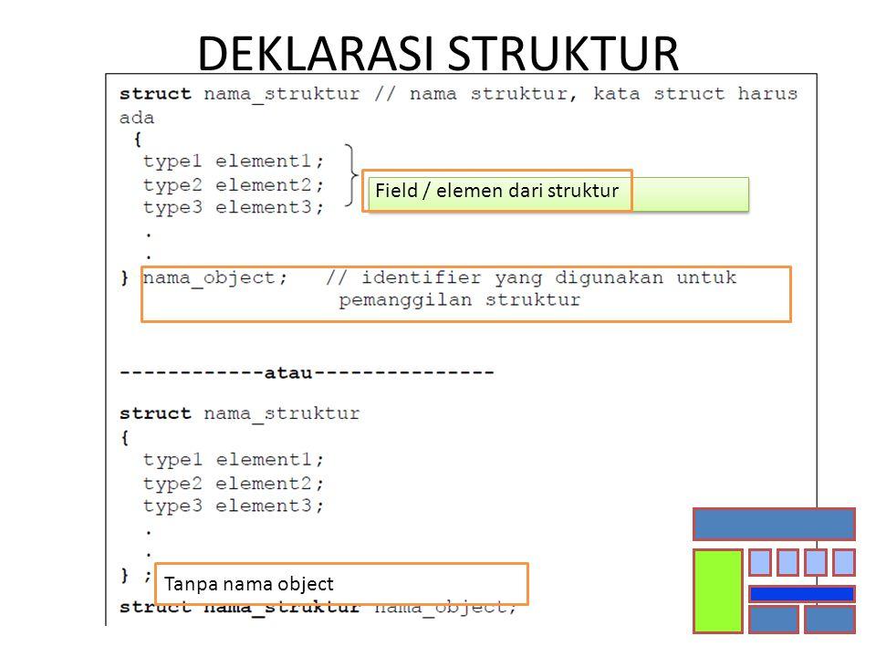 DEKLARASI STRUKTUR Tanpa nama object Field / elemen dari struktur