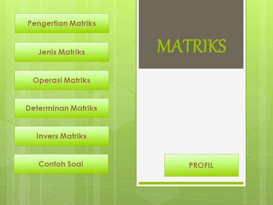 5.Tentukan invers dari matriks Penyelesaian : MATRIKS