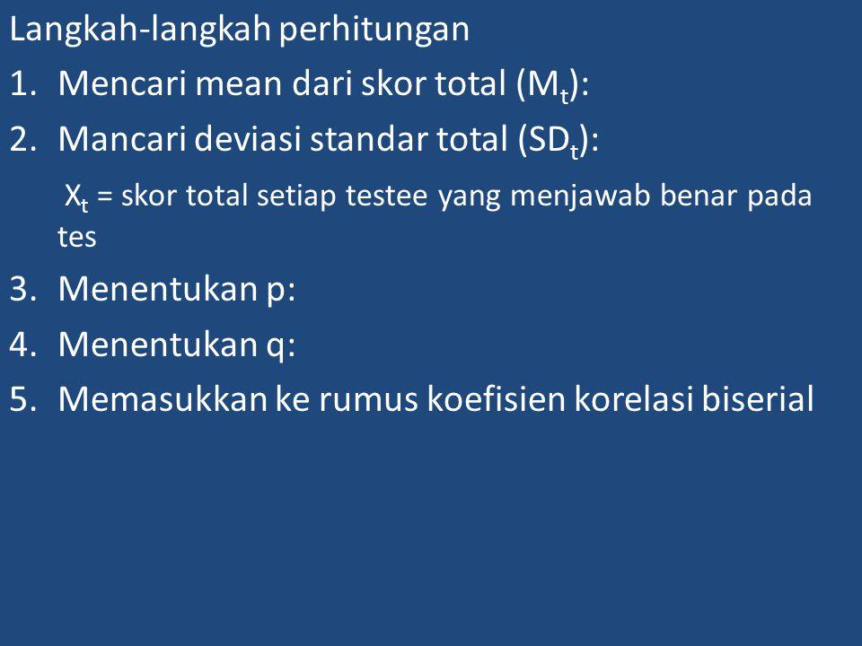 Langkah-langkah perhitungan 1.Mencari mean dari skor total (M t ): 2.Mancari deviasi standar total (SD t ): X t = skor total setiap testee yang menjawab benar pada tes 3.Menentukan p: 4.Menentukan q: 5.Memasukkan ke rumus koefisien korelasi biserial