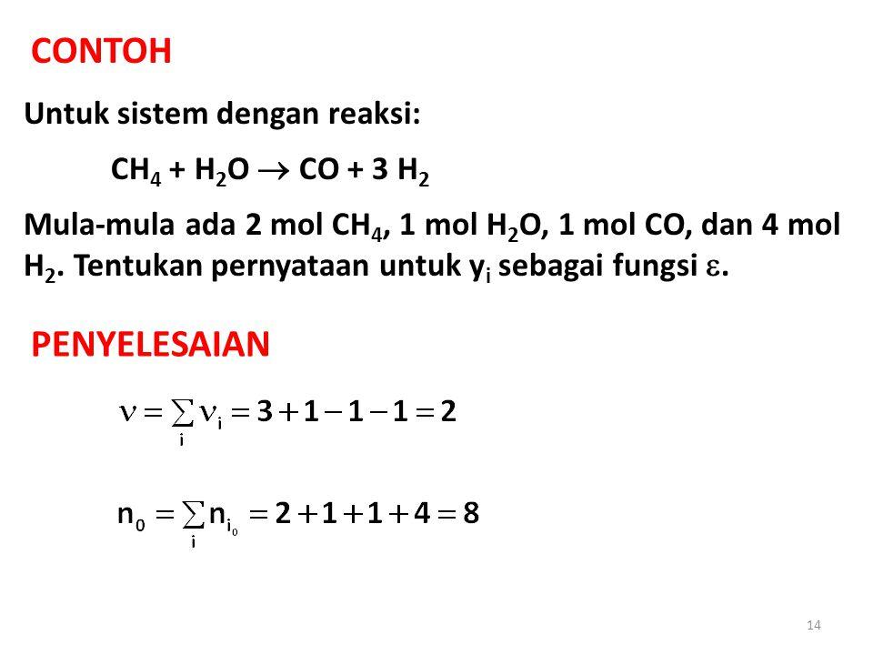 CONTOH Untuk sistem dengan reaksi: CH 4 + H 2 O  CO + 3 H 2 Mula-mula ada 2 mol CH 4, 1 mol H 2 O, 1 mol CO, dan 4 mol H 2.