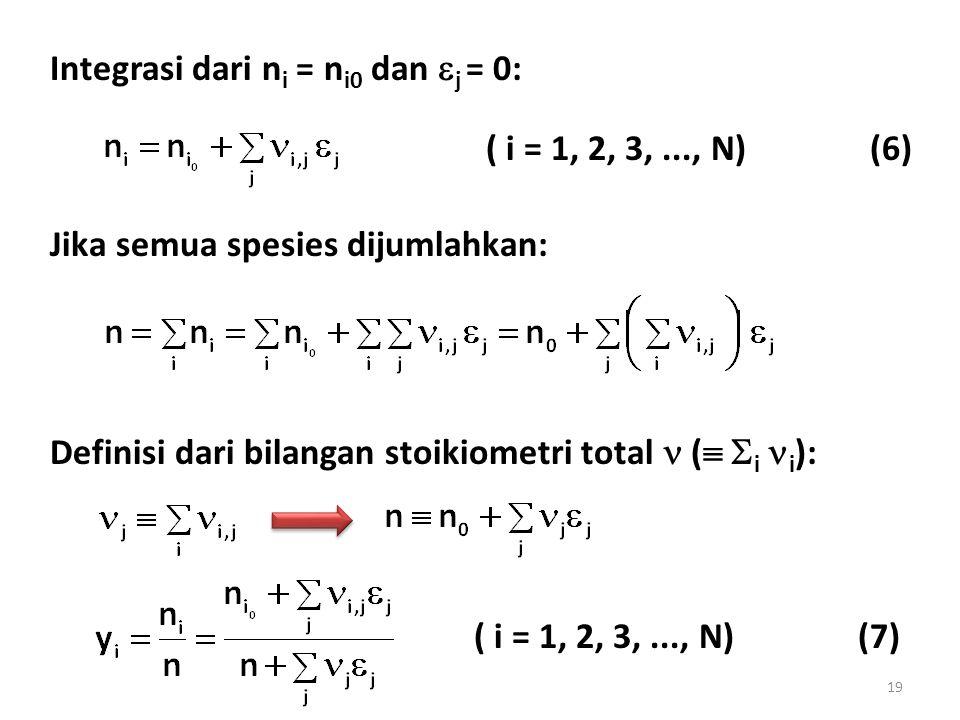 Integrasi dari n i = n i0 dan  j = 0: ( i = 1, 2, 3,..., N)(6) Jika semua spesies dijumlahkan: Definisi dari bilangan stoikiometri total (   i i ): ( i = 1, 2, 3,..., N)(7) 19