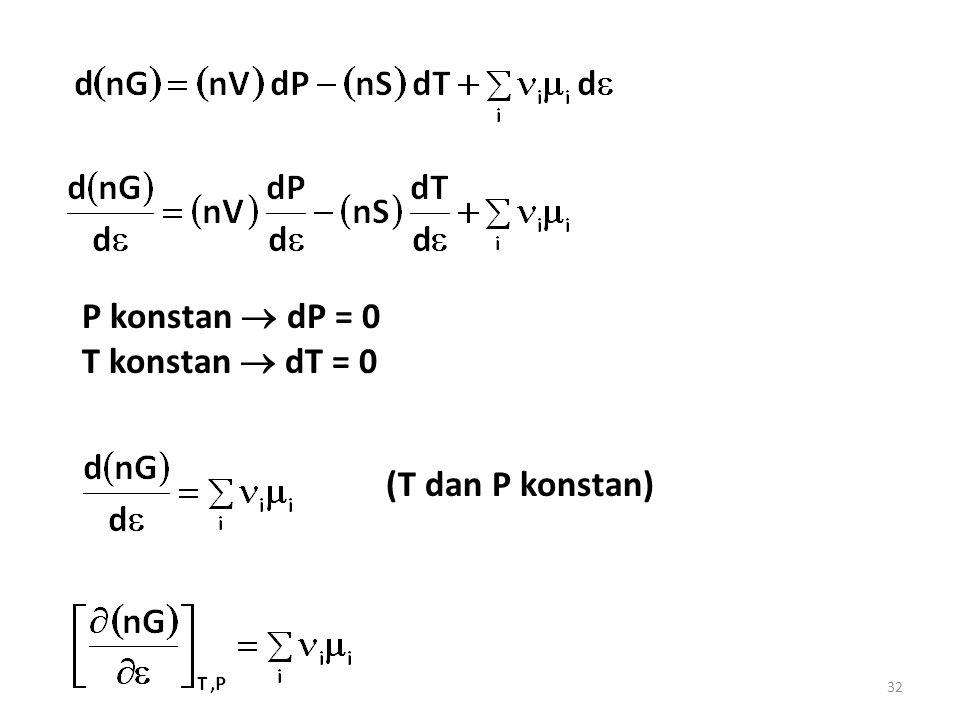 32 P konstan  dP = 0 T konstan  dT = 0 (T dan P konstan)