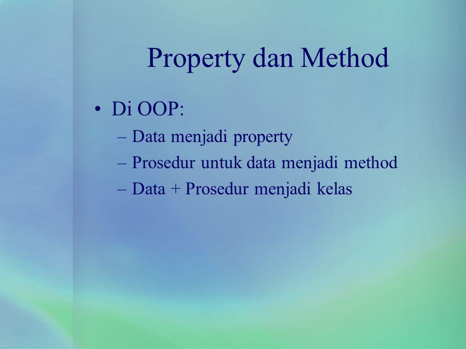 Property dan Method Di OOP: –Data menjadi property –Prosedur untuk data menjadi method –Data + Prosedur menjadi kelas