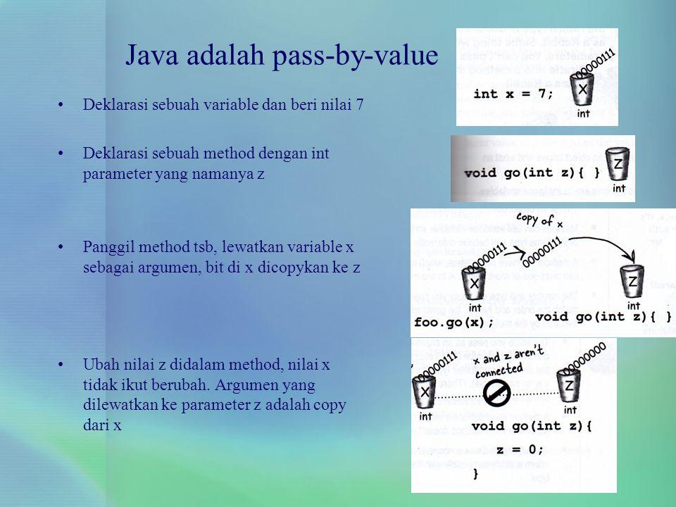 Deklarasi sebuah variable dan beri nilai 7 Deklarasi sebuah method dengan int parameter yang namanya z Panggil method tsb, lewatkan variable x sebagai