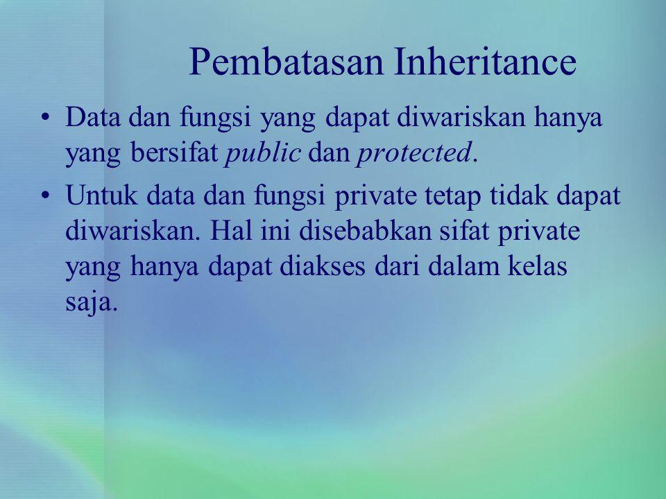 Pembatasan Inheritance Data dan fungsi yang dapat diwariskan hanya yang bersifat public dan protected. Untuk data dan fungsi private tetap tidak dapat