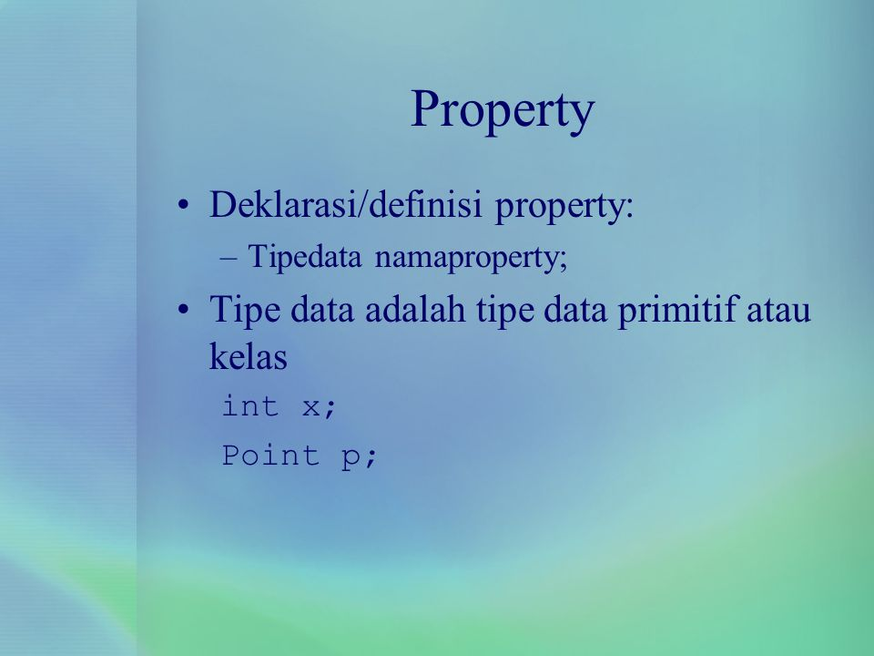 Method Deklarasi method sama seperti prosedur di C: public class ClassXXX{ tipekembalian method(tipe parameter) { /*isi method*/ return hasil; /*jika kembalian tidak void*/ }
