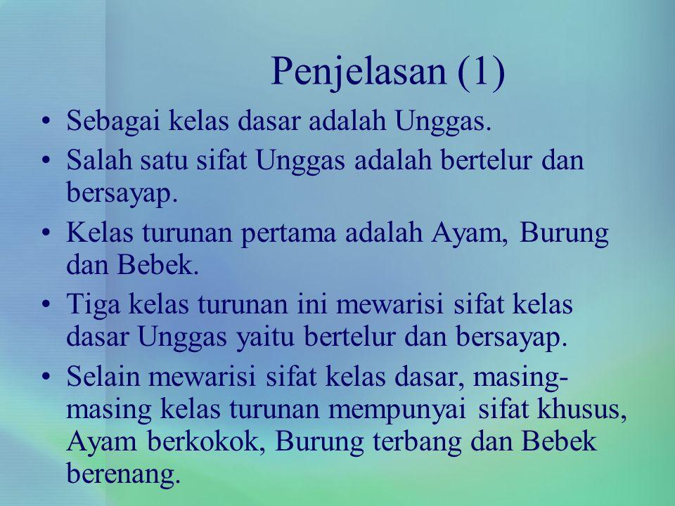 Penjelasan (1) Sebagai kelas dasar adalah Unggas. Salah satu sifat Unggas adalah bertelur dan bersayap. Kelas turunan pertama adalah Ayam, Burung dan