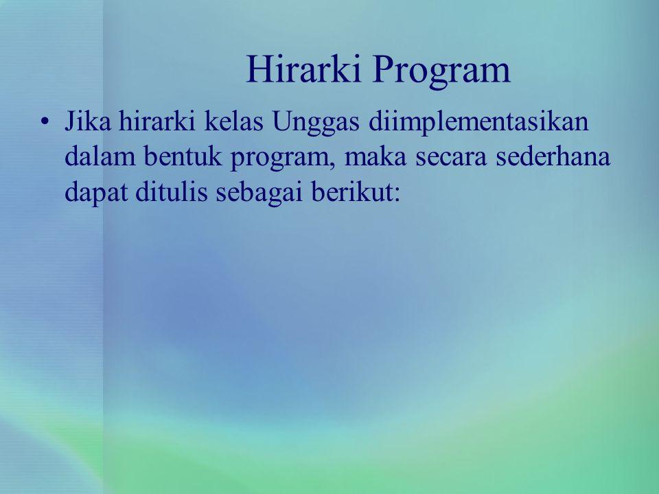 Hirarki Program Jika hirarki kelas Unggas diimplementasikan dalam bentuk program, maka secara sederhana dapat ditulis sebagai berikut: