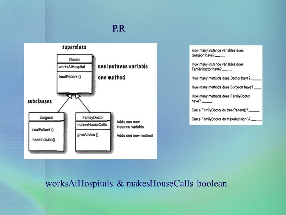 P.R worksAtHospitals & makesHouseCalls boolean