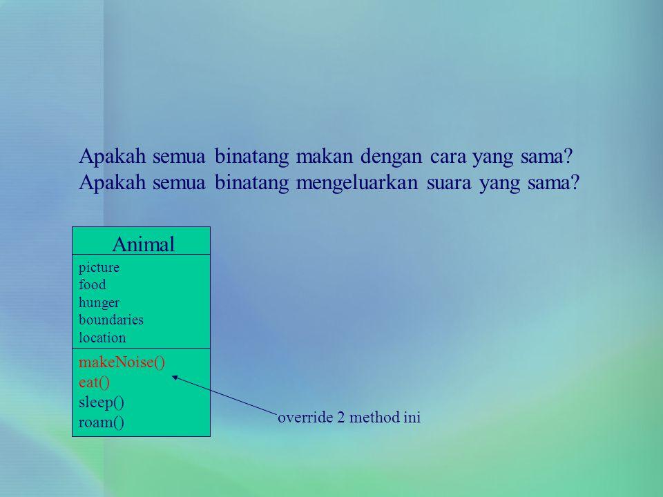 Animal picture food hunger boundaries location makeNoise() eat() sleep() roam() override 2 method ini Apakah semua binatang makan dengan cara yang sam