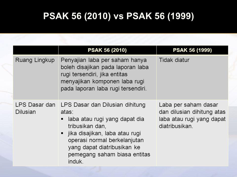 PSAK 56 (2010) vs PSAK 56 (1999) PSAK 56 (2010)PSAK 56 (1999) Kontrak yang dapat diselesaikan dengan saham biasa atau kas Mengatur kontrak yang dapat diselesaikan dengan saham biasa atau kas pilihan entitas (at the entity's option) dan pilihan pemegang kontrak (at the holder's option).