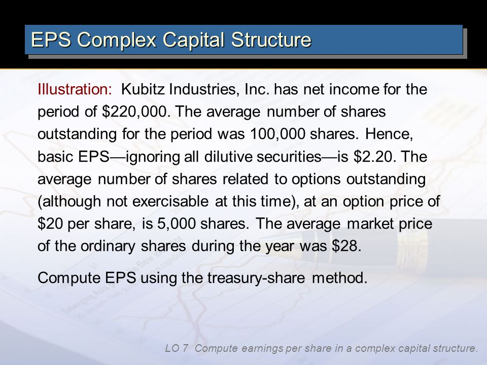 Illustration: Kubitz Industries, Inc. has net income for the period of $220,000. The average number of shares outstanding for the period was 100,000 s