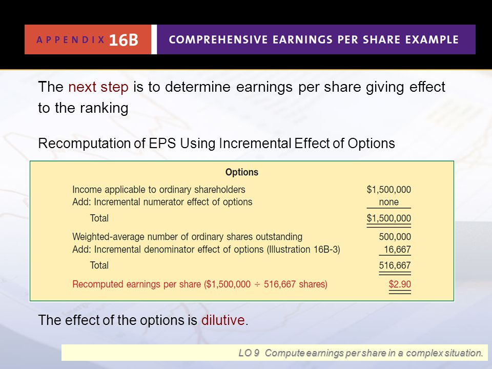 The next step is to determine earnings per share giving effect to the ranking Recomputation of EPS Using Incremental Effect of Options Illustration 16