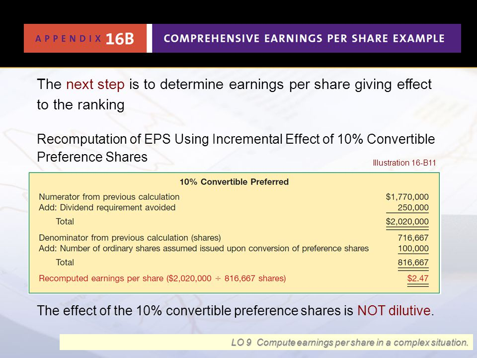 The next step is to determine earnings per share giving effect to the ranking Recomputation of EPS Using Incremental Effect of 10% Convertible Prefere