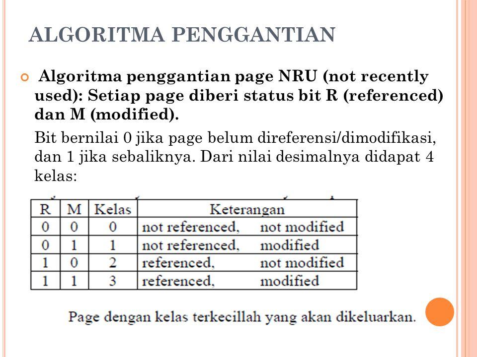 ALGORITMA PENGGANTIAN Algoritma penggantian page NRU (not recently used): Setiap page diberi status bit R (referenced) dan M (modified). Bit bernilai