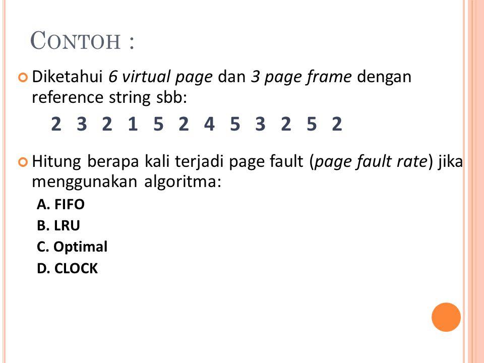 C ONTOH : Diketahui 6 virtual page dan 3 page frame dengan reference string sbb: 2 3 2 1 5 2 4 5 3 2 5 2 Hitung berapa kali terjadi page fault (page f