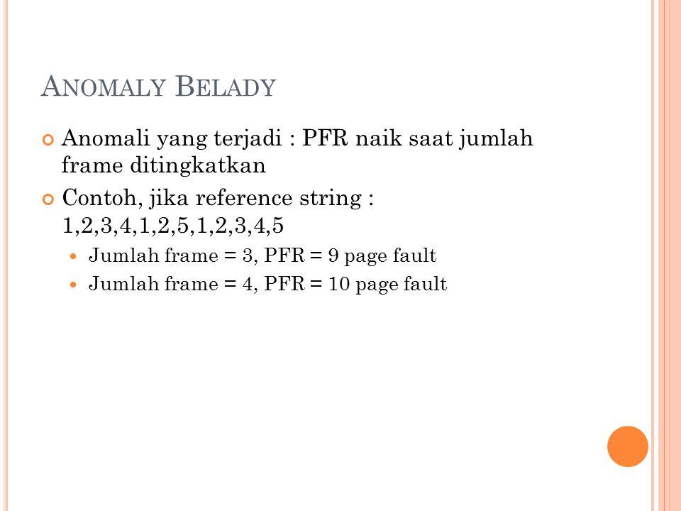 A NOMALY B ELADY Anomali yang terjadi : PFR naik saat jumlah frame ditingkatkan Contoh, jika reference string : 1,2,3,4,1,2,5,1,2,3,4,5 Jumlah frame =