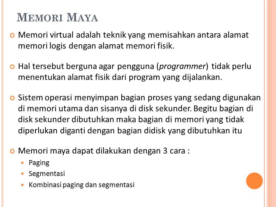 M EMORI M AYA Memori virtual adalah teknik yang memisahkan antara alamat memori logis dengan alamat memori fisik. Hal tersebut berguna agar pengguna (