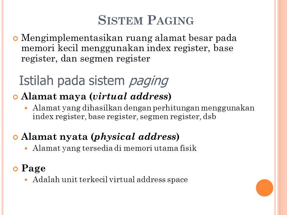 S ISTEM P AGING Mengimplementasikan ruang alamat besar pada memori kecil menggunakan index register, base register, dan segmen register Alamat maya (