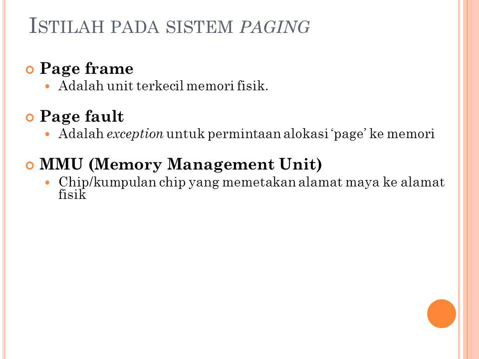 I STILAH PADA SISTEM PAGING Page frame Adalah unit terkecil memori fisik. Page fault Adalah exception untuk permintaan alokasi 'page' ke memori MMU (M