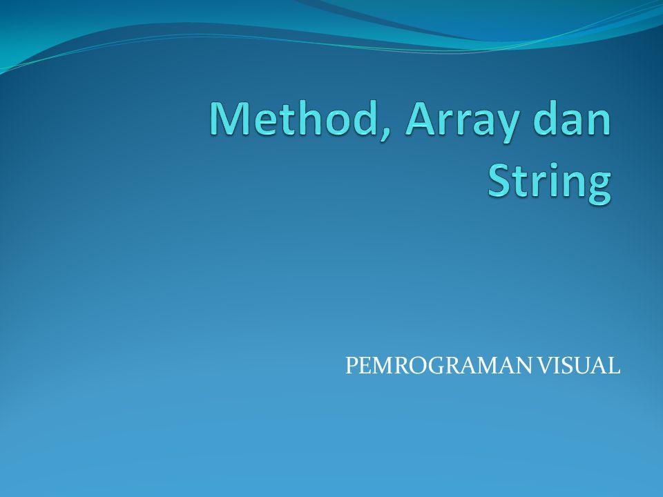 Method dalam String Ada 11 method dalam String yang dapat kita temui dalam C#.