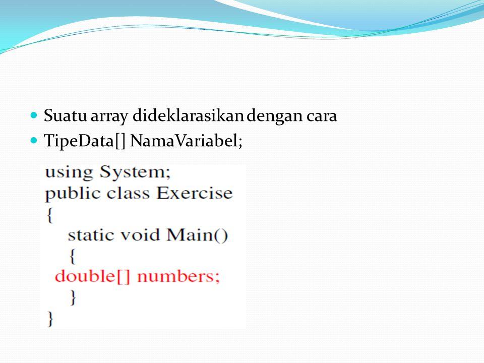 Suatu array dideklarasikan dengan cara TipeData[] NamaVariabel;