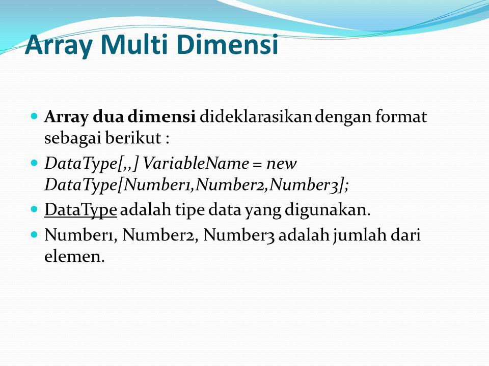 Array Multi Dimensi Array dua dimensi dideklarasikan dengan format sebagai berikut : DataType[,,] VariableName = new DataType[Number1,Number2,Number3]; DataType adalah tipe data yang digunakan.
