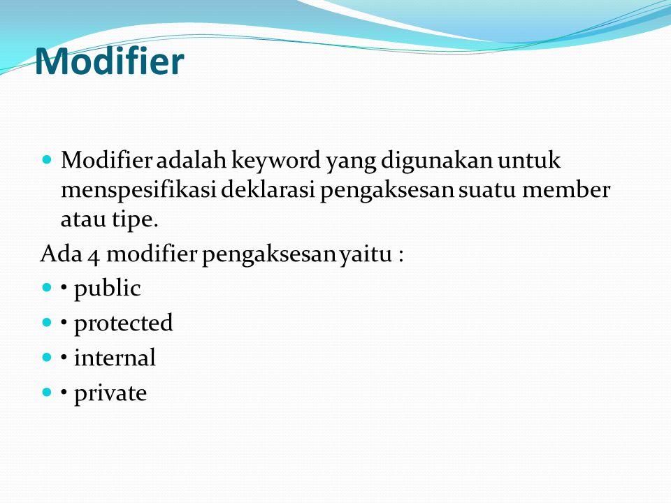 Modifier Modifier adalah keyword yang digunakan untuk menspesifikasi deklarasi pengaksesan suatu member atau tipe. Ada 4 modifier pengaksesan yaitu :
