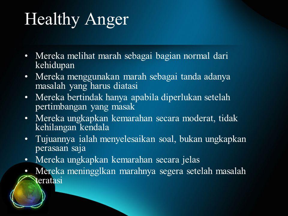 Healthy Anger Mereka melihat marah sebagai bagian normal dari kehidupan Mereka menggunakan marah sebagai tanda adanya masalah yang harus diatasi Merek