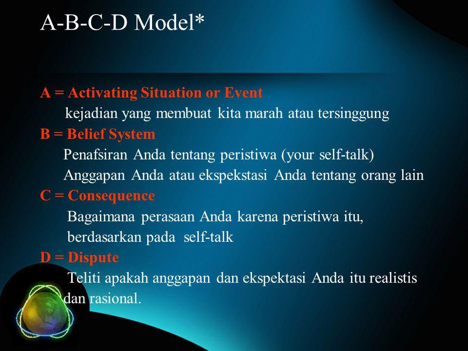 A-B-C-D Model* A = Activating Situation or Event kejadian yang membuat kita marah atau tersinggung B = Belief System Penafsiran Anda tentang peristiwa (your self-talk) Anggapan Anda atau ekspekstasi Anda tentang orang lain C = Consequence Bagaimana perasaan Anda karena peristiwa itu, berdasarkan pada self-talk D = Dispute Teliti apakah anggapan dan ekspektasi Anda itu realistis dan rasional.