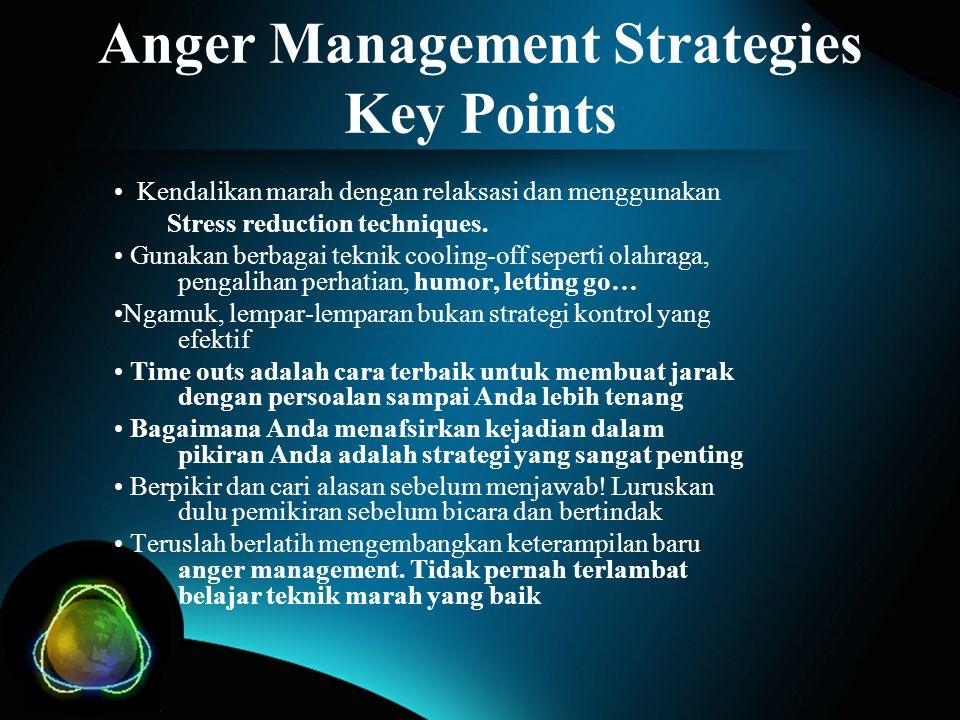 Anger Management Strategies Key Points Kendalikan marah dengan relaksasi dan menggunakan Stress reduction techniques. Gunakan berbagai teknik cooling-