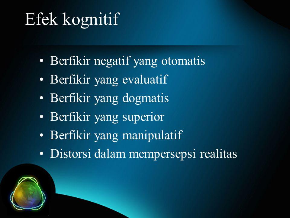 Efek kognitif Berfikir negatif yang otomatis Berfikir yang evaluatif Berfikir yang dogmatis Berfikir yang superior Berfikir yang manipulatif Distorsi dalam mempersepsi realitas