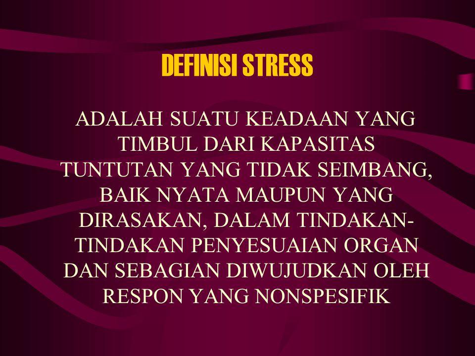 DEFINISI STRESS ADALAH SUATU KEADAAN YANG TIMBUL DARI KAPASITAS TUNTUTAN YANG TIDAK SEIMBANG, BAIK NYATA MAUPUN YANG DIRASAKAN, DALAM TINDAKAN- TINDAK
