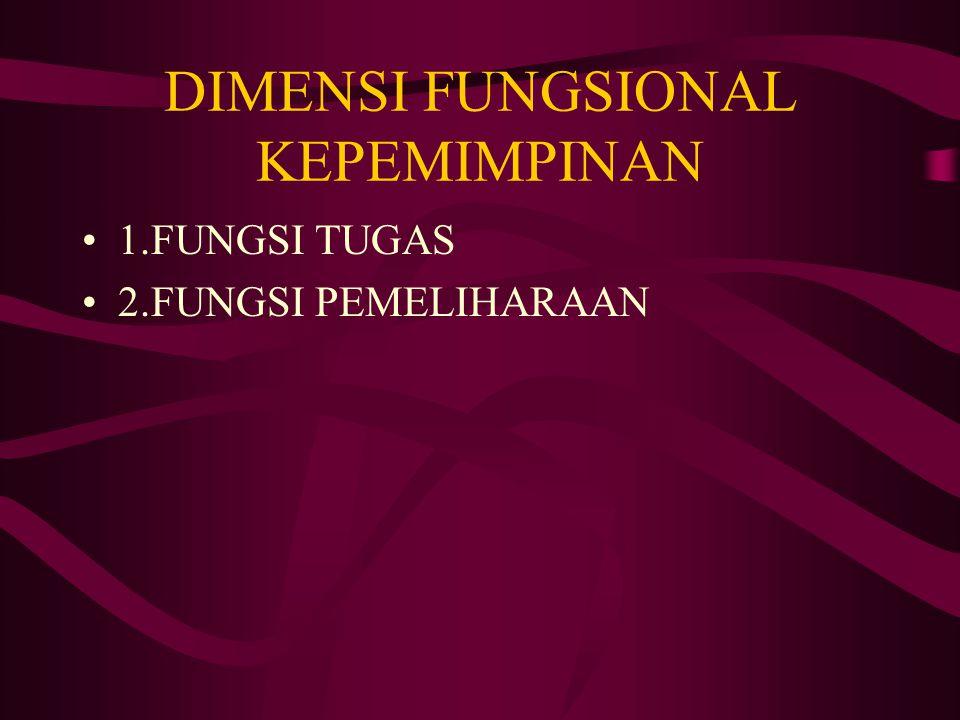 DIMENSI FUNGSIONAL KEPEMIMPINAN 1.FUNGSI TUGAS 2.FUNGSI PEMELIHARAAN