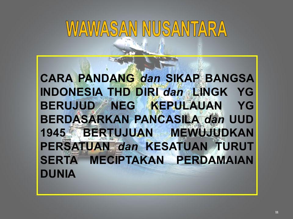 11 CARA PANDANG dan SIKAP BANGSA INDONESIA THD DIRI dan LINGK YG BERUJUD NEG KEPULAUAN YG BERDASARKAN PANCASILA dan UUD 1945 BERTUJUAN MEWUJUDKAN PERS