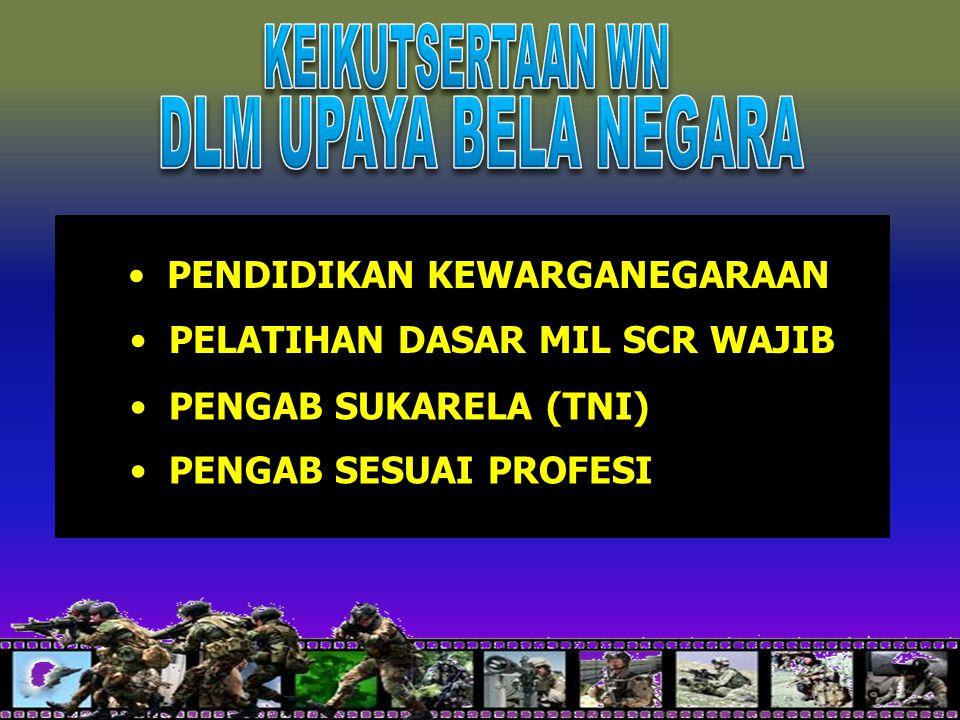16 PENDIDIKAN KEWARGANEGARAAN PELATIHAN DASAR MIL SCR WAJIB PENGAB SUKARELA (TNI) PENGAB SESUAI PROFESI