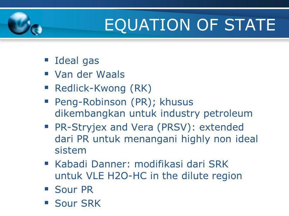 Fluid Package dalam HYSYS Model yang tersedia: Equation of State (EoS): 10 model Activity Coefficient: 8 model Vapor Pressure: 3 model Advanced Com-Th