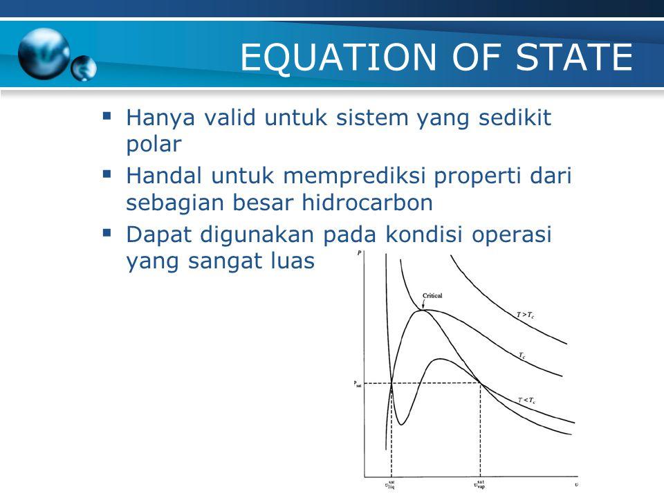 EQUATION OF STATE  Ideal gas  Van der Waals  Redlick-Kwong (RK)  Peng-Robinson (PR); khusus dikembangkan untuk industry petroleum  PR-Stryjex and